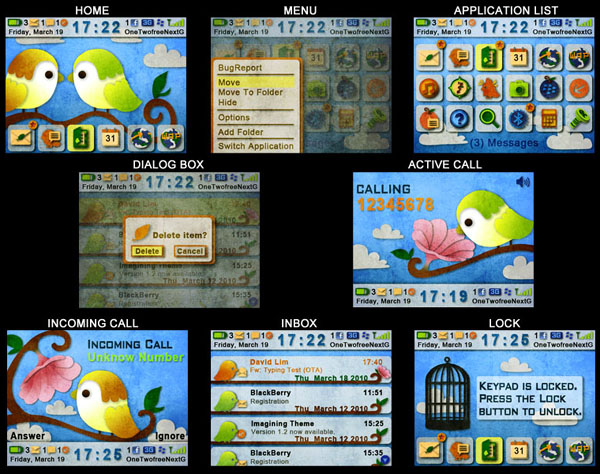 The Birds for blackberry 9700 themes