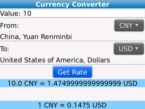 Real Time Currency Converter blackberry apps