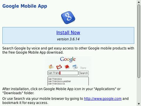 Google Mobile App v3 9 8 - free blackberry apps download