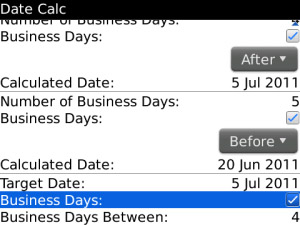 Date Calc v1.0.2 for blackberry os4.6+ applicatio