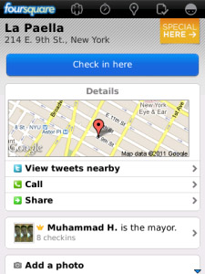 Foursquare v3.8 for blackberry os5.0 apps