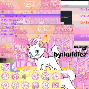 free Marie Cat pink theme for bb curve 9300 os6.0