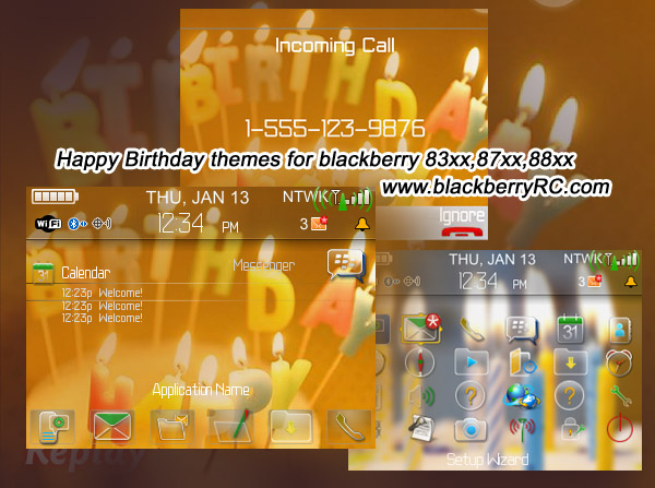 Happy Birthday themes for blackberry 83xx,87xx,88