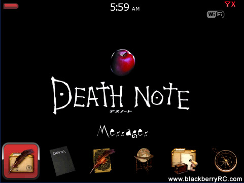 free Death Note Bottom Dock for blackberry bold 9