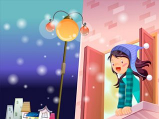Cute cartoon girl for blackberry torch hd wallpap