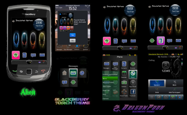 Alien P9981 icons theme for blackberry torch 9800