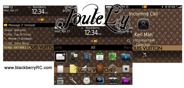 Gold Louis Vuitton os7 icons for blackberry 9700