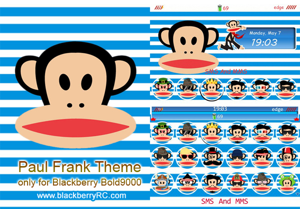 Paul Frank Theme For Blackberry Bold 9000 themes