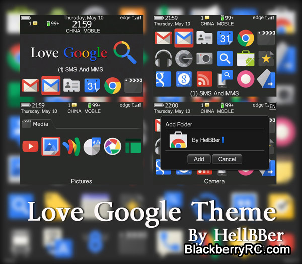 Love Google theme only for blackberry bold 9000 s