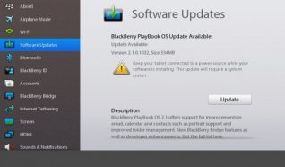 <b>BlackBerry PlayBook update to OS 2.1</b>
