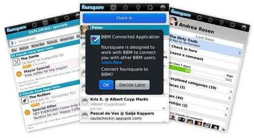 <b>foursquare v5.5 for blackberry os7.0 apps</b>