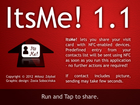 <b>ItsMe! 1.1 - share your contact info with NFC</b>
