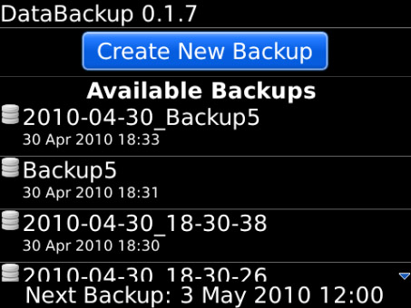 <b>Data Backup 0.1.13 for blackberry apps</b>