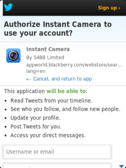 <b>Camera for Twitter now compatible with BlackBerry</b>
