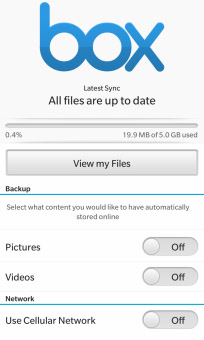 <b>Box 1.1.0.88 for BB10 apps</b>