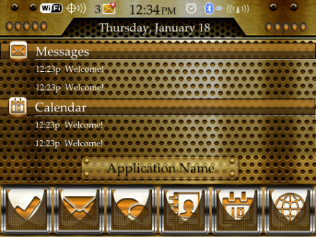 <b>Gold Theme for BlackBerry Curve 9350, 9360, 9370 </b>