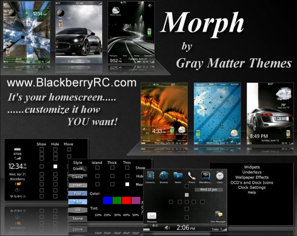 <b>Morph Themes for Blackberry 96xx,9700,9780 OS6.0</b>