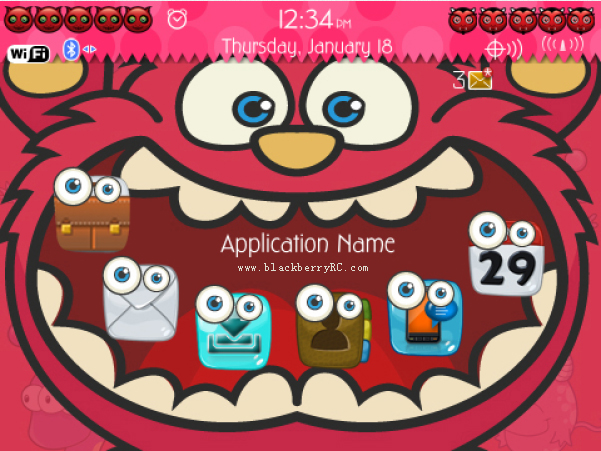 <b>Cute Mouth Monster 99xx bold Blackberry Theme</b>