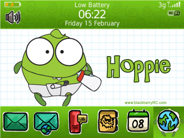 <b>cute hoppie theme for blackberry 9900,9930,p9981</b>