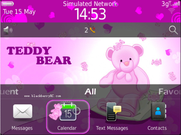 <b>Cute Teddy Bear Theme for blackberry 9900,9930,p9</b>