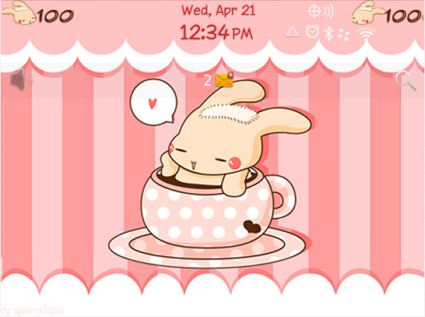 <b>Bunny with Hot Coffee for bb 99xx bold theme</b>