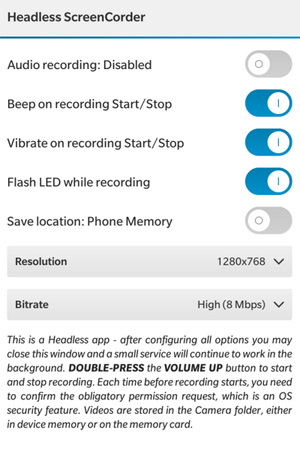 <b>Headless ScreenCorder v1.0.1.1 for blackberry app</b>